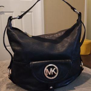 Michael Kors Fulton Black Leather Hobo Shoulder Bag